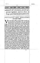 Extrait de l'arrest du Conseil d'Etat du vingt-un avril mil six cents soixante-quatre, portant reglement general pour les droits de peages qui se leueron sur le Rhosne [Rhône]. [Avril 1664 ; Signé de Guenegaud]