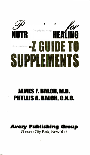 Prescription for Nutritional Healing A to Z Guide to Supplements PDF