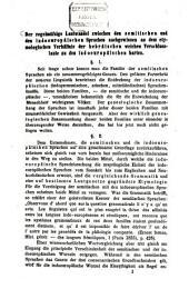 Der regelmässige Lautwandel zwischen den semitischen und den indoeuropäischen Sprachen nachgewiesen an dem etymologischen Verhältnis der hebräischen weichen Verschlusslaute zu den indoeuropäischen harten: Band 1