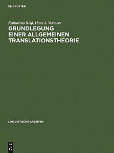 Grundlegung einer allgemeinen Translationstheorie PDF
