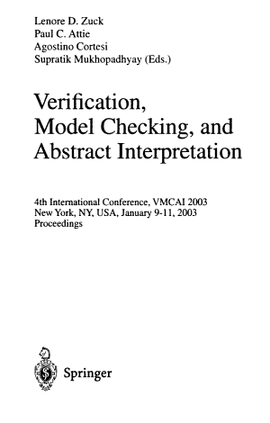 Verification  Model Checking  and Abstract Interpretation PDF