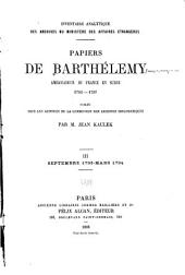 Papiers du Barthélemy: Volume3