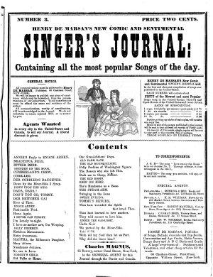 Henry De Marsan s New Comic and Sentimental Singer s Journal