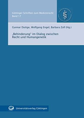 Behinderung  im Dialog zwischen Recht und Humangenetik PDF