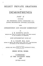 Select Private Orations of Demosthenes: Pro Phormione. Contra Stephanum I, II. Contra Nicostratum. Cononem. Calliclem