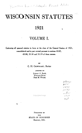 Wisconsin Statutes: Volume 1