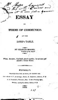 An Essay on Terms of Communion at the Lord s Table PDF