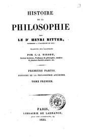 Histoire de la Philosophie Tome Premier