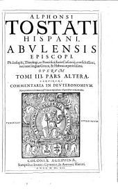 Opera omnia: Continens Commentaria In Devteronomivm, Volume 3, Issue 2