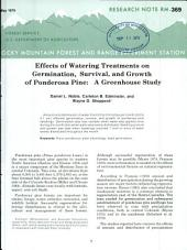 Effects of watering treatments on germination, survival and growth of Ponderosa pine: a greenhouse study
