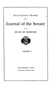 Journal of the Senate of the State of Missouri at the     Session of the     General Assembly PDF