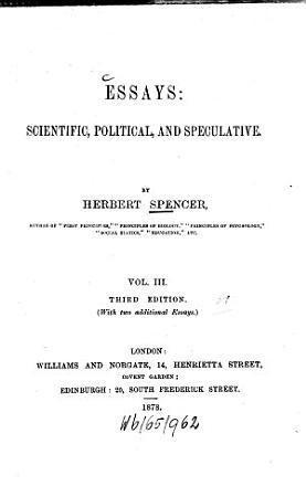 Essays  Scientific  Political   Speculative PDF