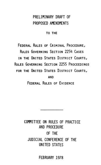 Preliminary Draft of Proposed Amendments to the Federal Rules of Criminal Procedure PDF