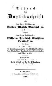 Abdruck der Duplikschrift für den Reichsgrafen, Gustav Adolph Bentinck