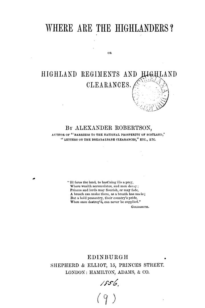 Where are the Highlanders? or Highland regiments and Highland clearances