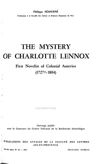 The Mystery of Charlotte Lennox  First Novelist of Colonial America  1727  1804   PDF