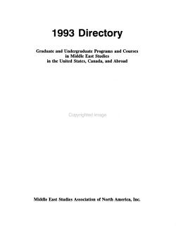 Graduate and Undergraduate Programs and Courses in Middle East Studies in the United States  Canada  and Abroad PDF