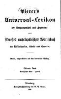 Pierer s Universal Lexikon der Vergangenheit und Gegenwart oder neuestes encyclop  disches W  rterbuch der Wissenschaften  K  nste und Gewerbe PDF