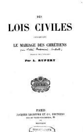 Des lois civiles concernant le mariage des chrétiens