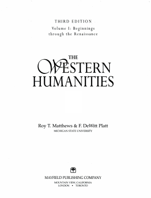 The Western Humanities  Beginnings through the Renaissance PDF