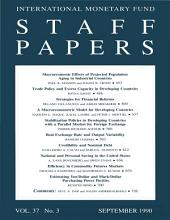 IMF Staff papers: Volume 37, Issue 3