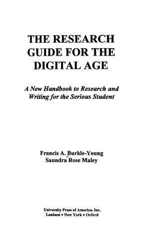 The Research Guide for the Digital Age PDF
