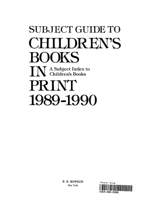 Subject Guide to Children s Books In Print  1989 1990 PDF