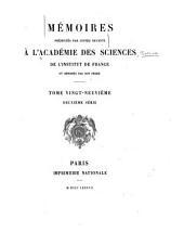 Memoires présentés par divers savants a l'Academie royale des sciences de l'Institut de France et imprimes par son ordre