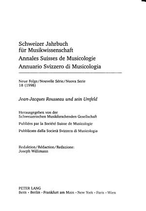 Annales suisses de musicologie PDF