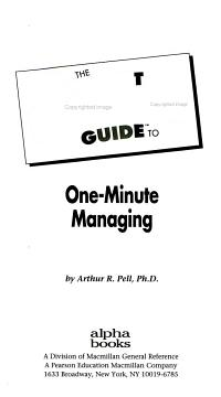The Pocket Idiot s Guide to One minute Managing