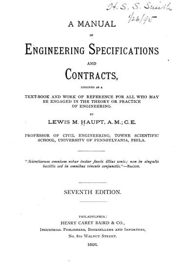 A Manual of Engineering Specifications and Contracts PDF