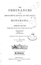 The Ordinances of the Legislative Council of the Colony of Hongkong: 1844-1877