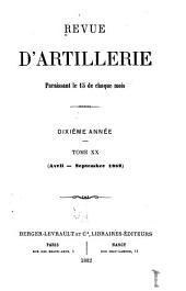 Revue d'artillerie: Volume20