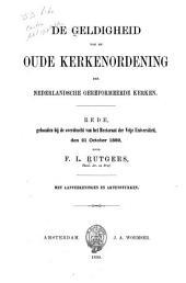 De geldigheid van de oude Kerkenordening der Nederlandsche Gereformeerde Kerken