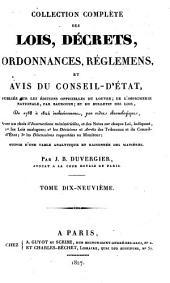 Collection complète des lois, décrets d'intérêe général, traités internationaux, arrêtés, circulaires, instructions, etc: Volume19