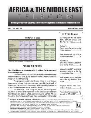 Africa   Mideast Telecom Monthly Newsletter November 2009 PDF