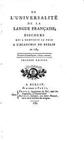 De l'universalité de la langue française: discours qui a remporté le prix à l'Académie de Berlin en 1784