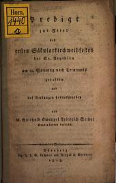 Predigt zur Feyer des 1. Säcular-Kirchweihfestes bey St. Ägydien ... 1818