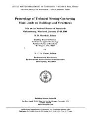 Proceedings of Technical Meeting Concerning Wind Loads on Buildings and Structures PDF