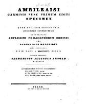Amrilkaisi carminis nunc primum editi specimen