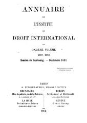 Annuaire de l'Institut de droit international: Volume 11