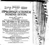 Šēm YHWH qārôv seu appropinquationem nominis divini, ex psalmo LXXV,2