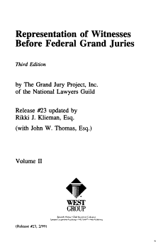 Representation of Witnesses Before Federal Grand Juries PDF