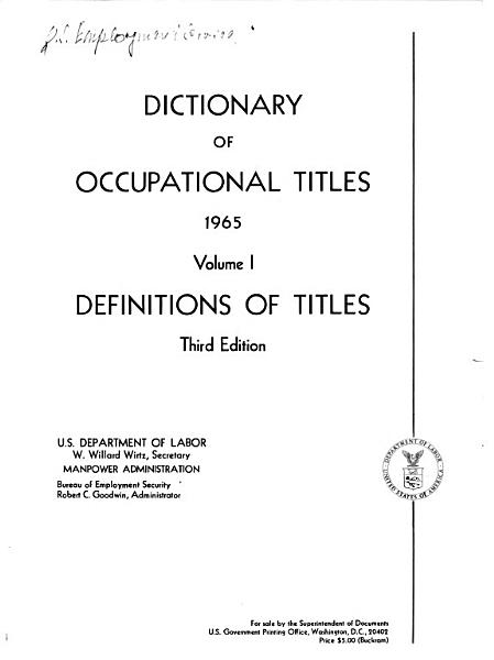 Dictionary of Occupational Titles  Definitions of titles PDF