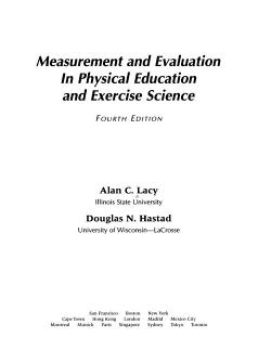Measurement and Evaluation in Physical Education and Exercise Science PDF