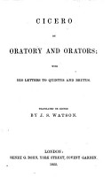 Cicero on Oratory and Orators  with his Letters to Quintus and Brutus  Translated or edited by J  S  Watson PDF