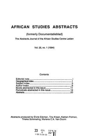 African Studies Abstracts PDF