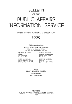 Public Affairs Information Service Bulletin PDF