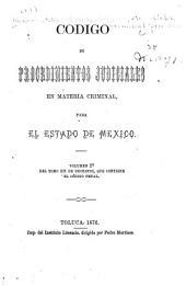 Código de procedimientos judiciales en materia criminal: para el estado de México