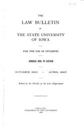 The Law Bulletin of the State University of Iowa PDF